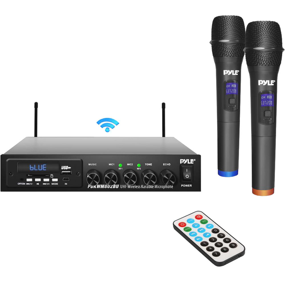 Pyle Pro Wireless Microphone and Bluetooth Receiver System with Dual  Handheld Microphones