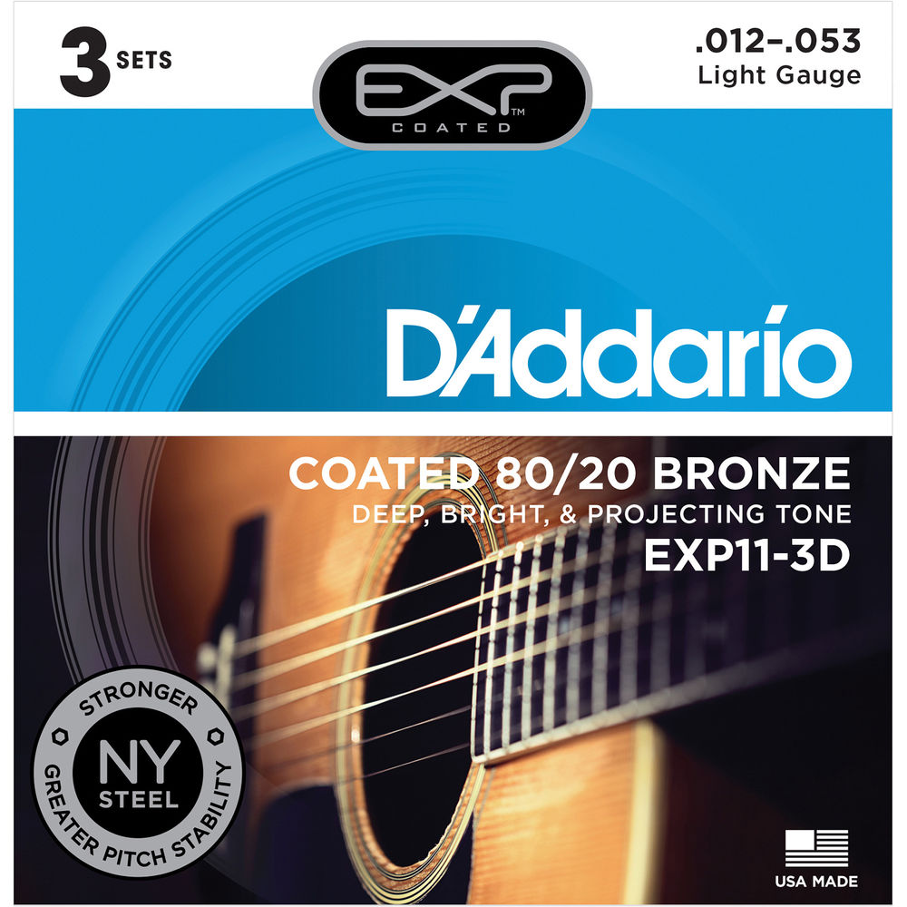 D/'Addario EXP14 12-56 Coated Bluegrass Acoustic Guitar Strings EXP 14 5 Pack