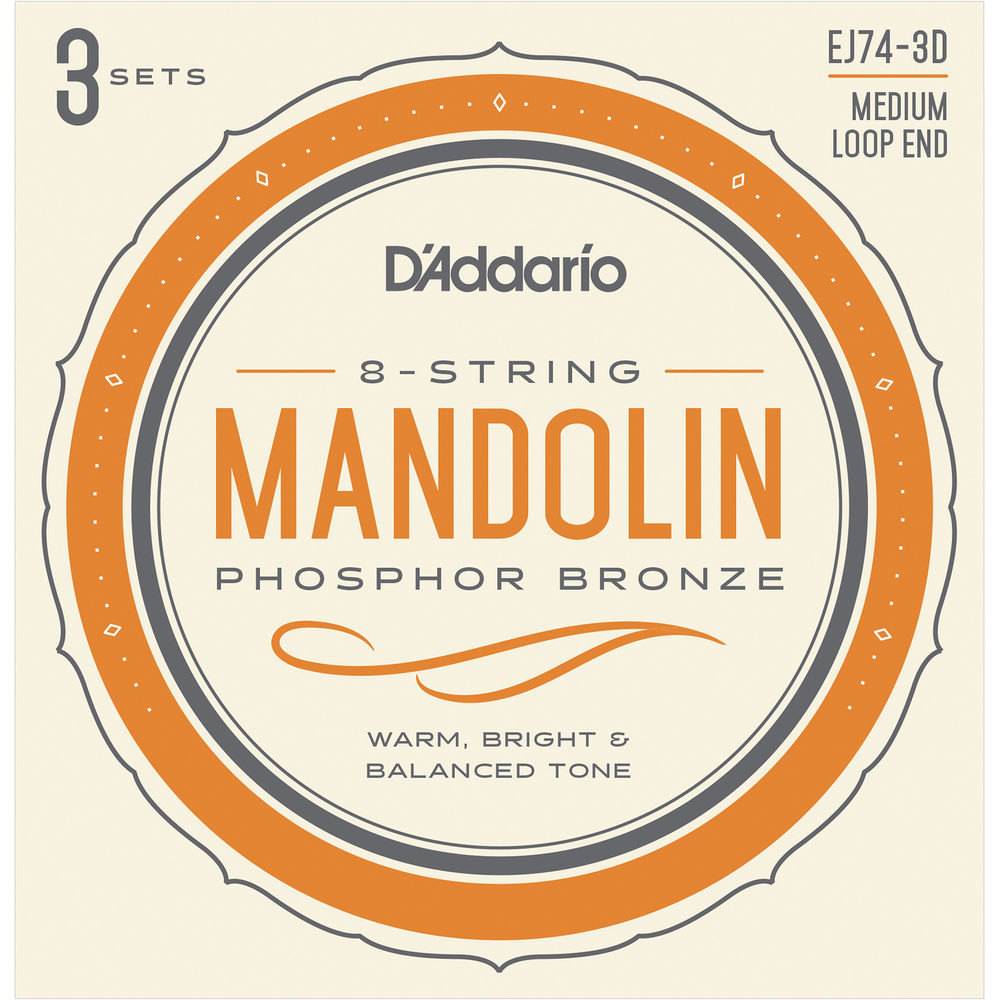11-40 Medium D/'Addario EJ74 Mandolin Strings Phosphor Bronze