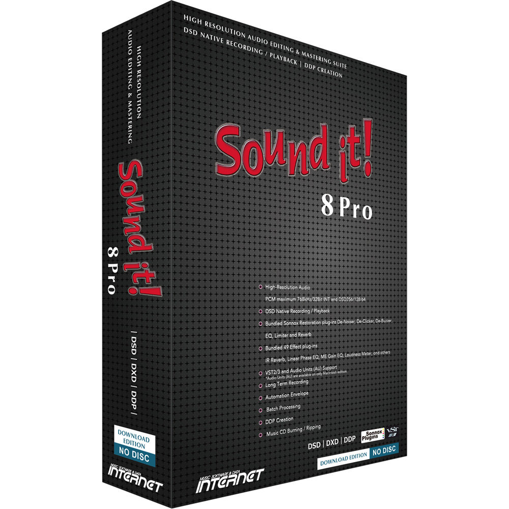 Internet Co  Sound it! 8 Pro Audio Editing and Mastering Suite with Sonnox  Restoration Plug-Ins (Mac, Download)