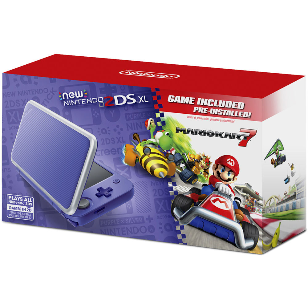 Nintendo 2DS XL Mario Kart 7 Bundle (Purple + Silver)