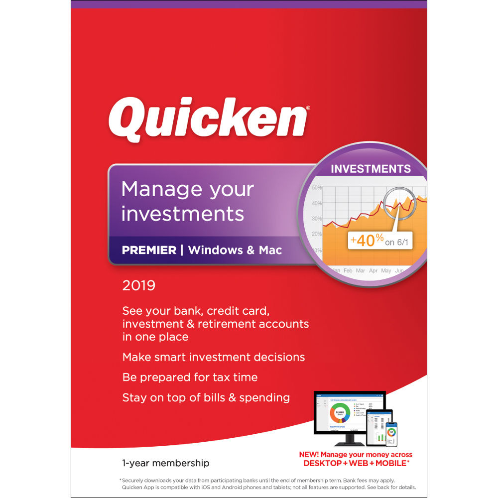 Intuit Quicken Premier 2019 (Download, 1-Year Subscription)