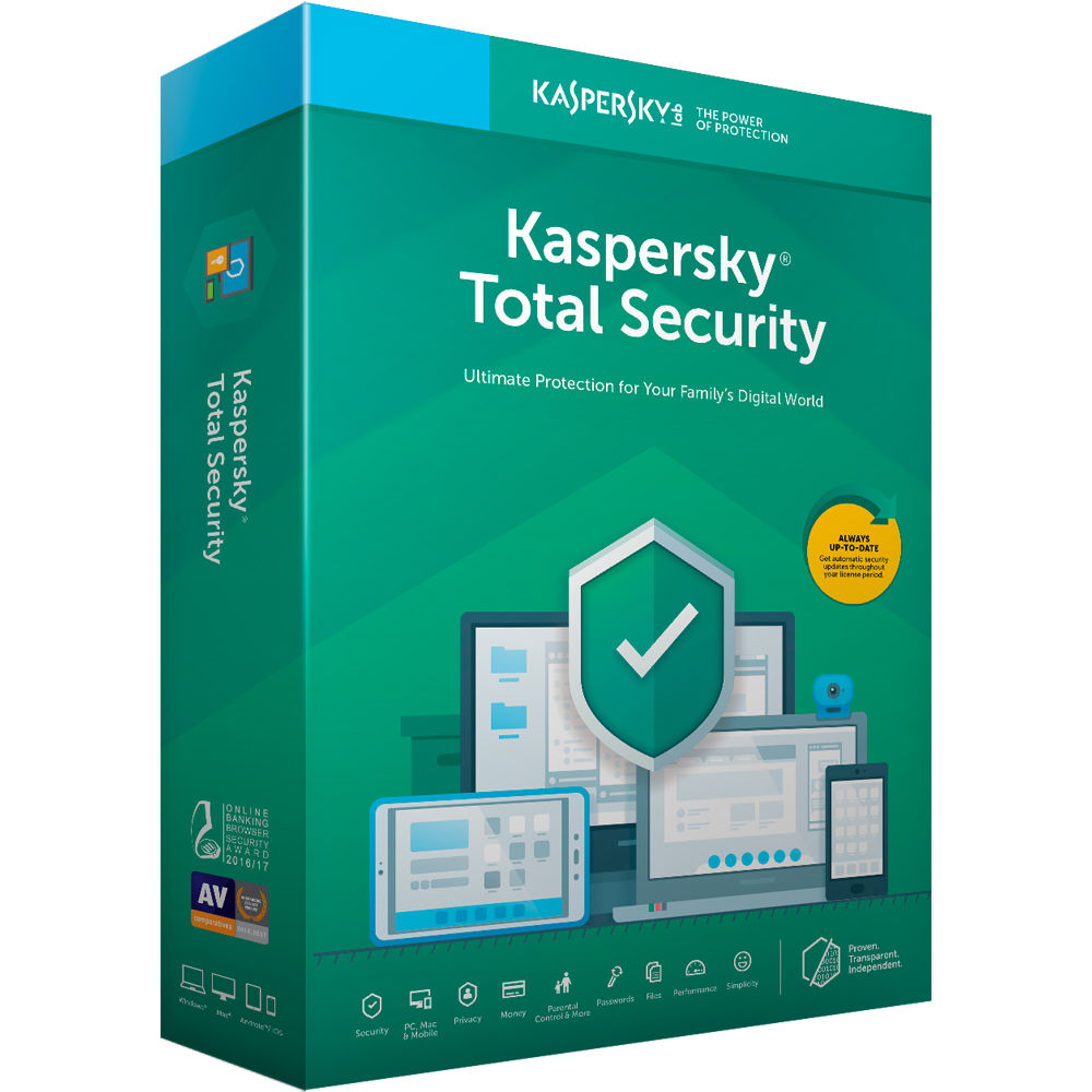 Kaspersky Total Security 2019 (5 Devices, 1-Year License, Key Card Code)