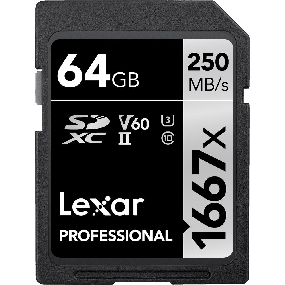 Lexar 1667x SDXC profesional 64GB 128GB 256GB Tarjeta de memoria SD de 250MB//s clase 10