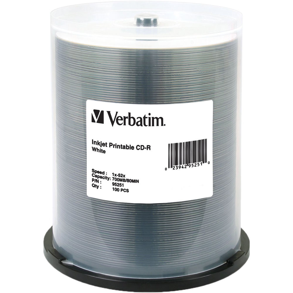 Verbatim Cd R 700mb 52x Write Once White Inkjet Printable Recordable Compact Disc Spindle Pack Of 100