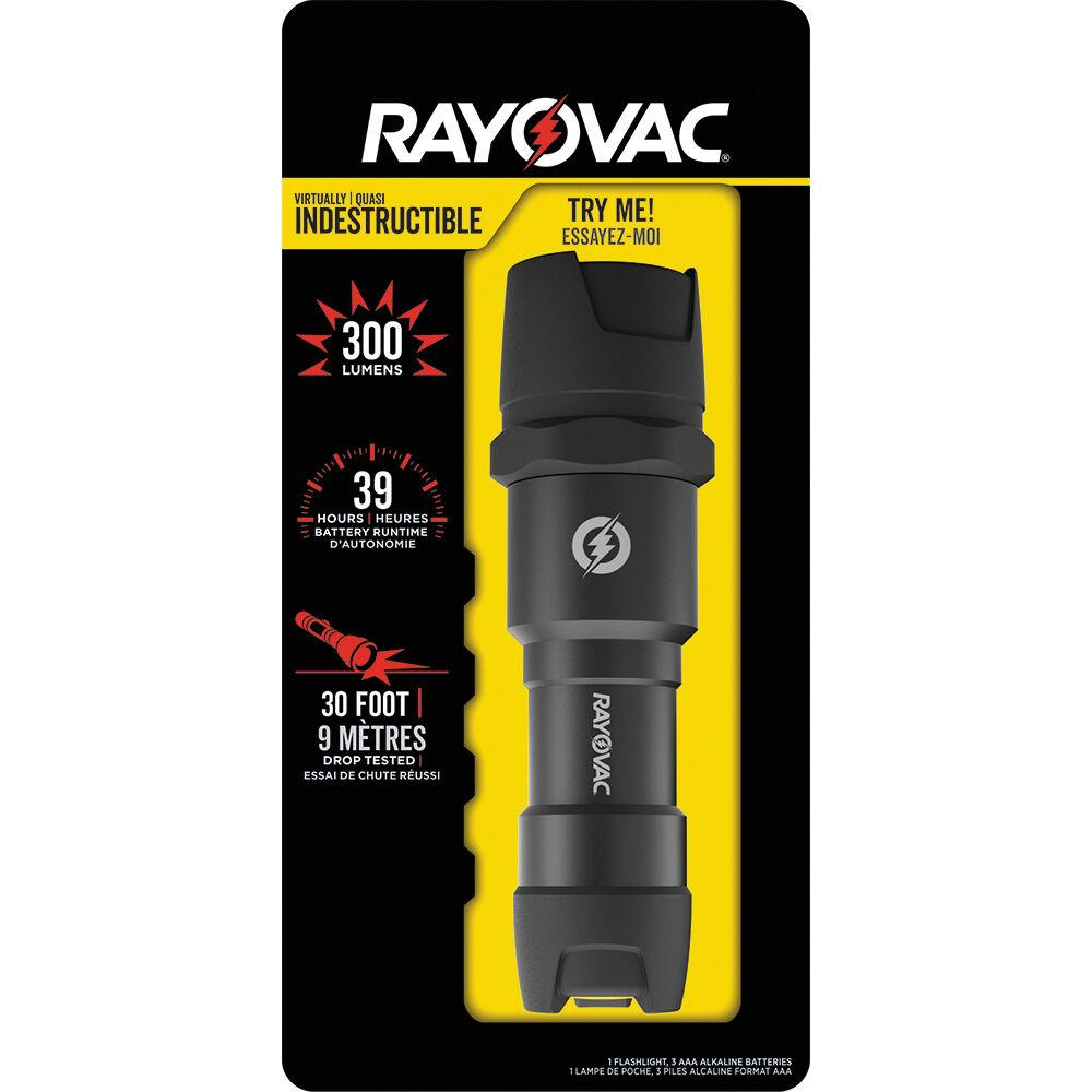 300 Lumen New Rayovac Virtually Indestructible Waterproof LED Flashlight