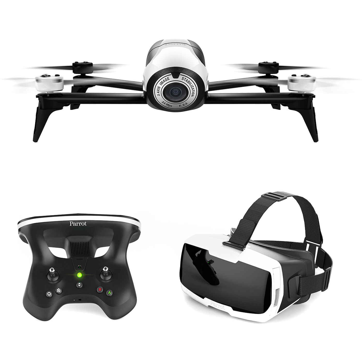Parrot BeBop 2 Drone with FPV Bundle (White)