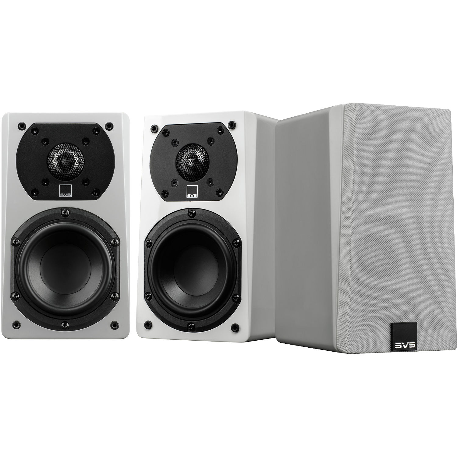 SVS Prime Satellite 2-Way Bookshelf Speakers (Piano Gloss White, 3-Pack)