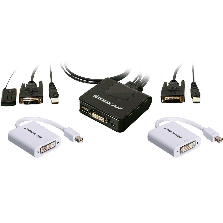 IOGEAR 2-Port USB DVI Cable KVM Switch with Mini DisplayPort Adapters Bundle