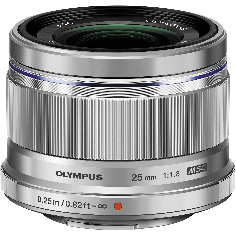 Olympus M Zuiko Digital 25mm f/1 8 Lens (Silver)