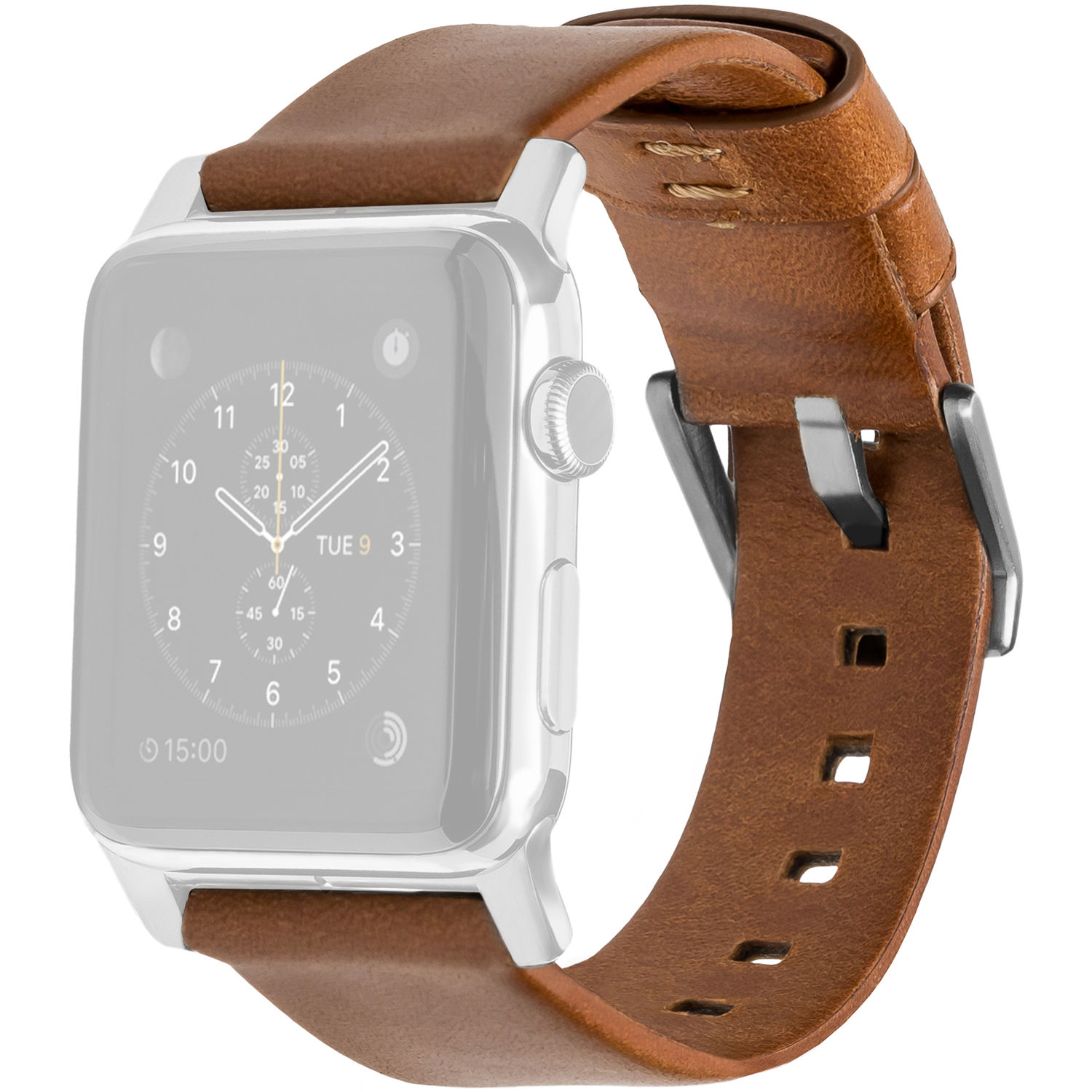 Nomad Leather Strap for 42mm/44mm Apple Watch (Silver Hardware)