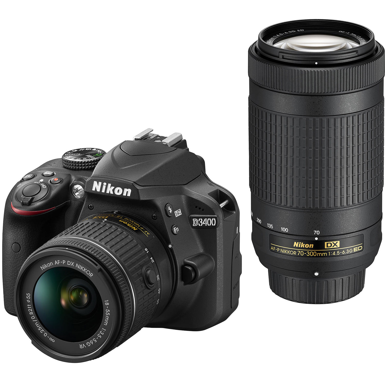 Nikon D3400 DSLR Camera with 18-55mm and 70-300mm Lenses (Black)
