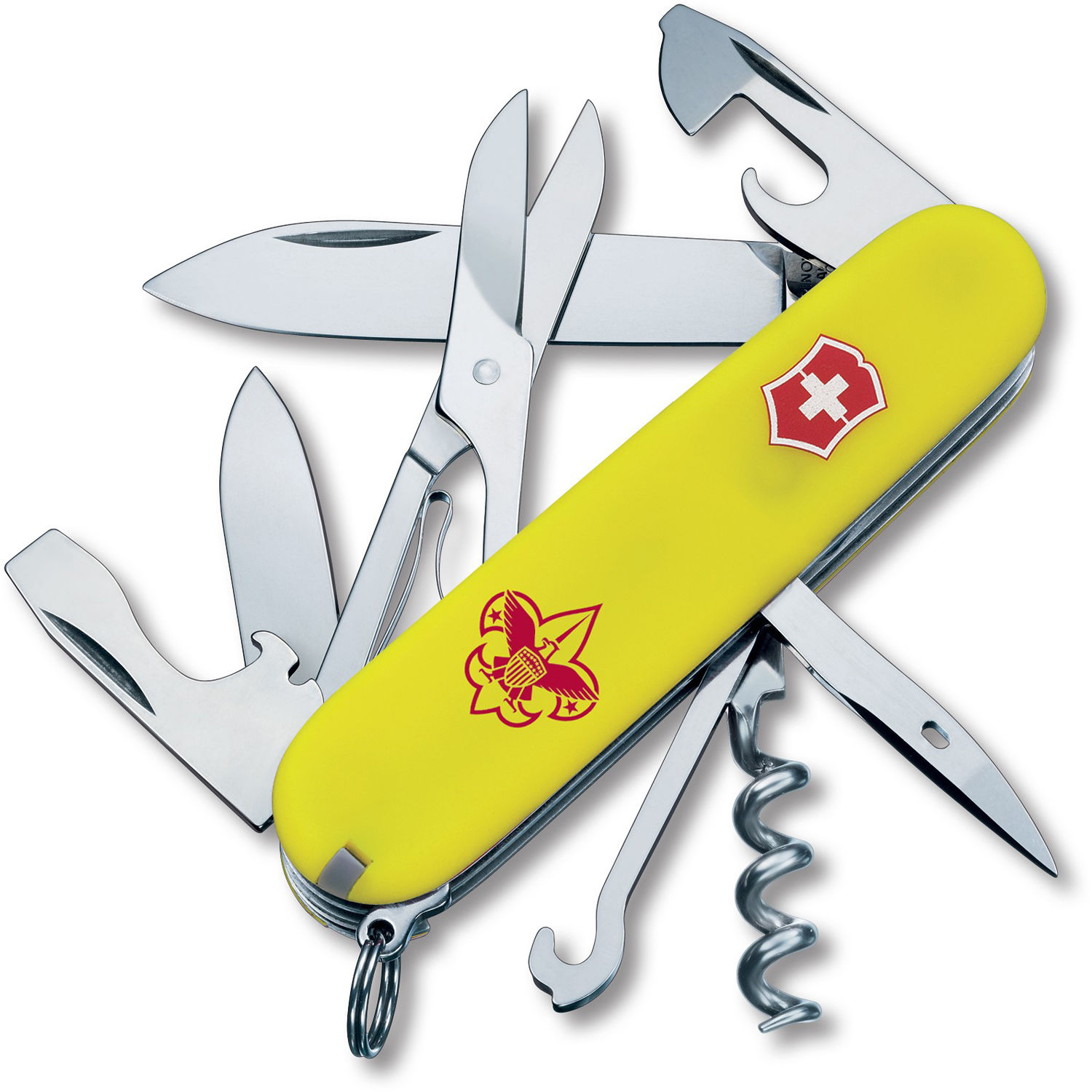 Victorinox Climber Pocket Knife (Stayglow Yellow, Boy Scouts of America  Edition, Clamshell Packaging)