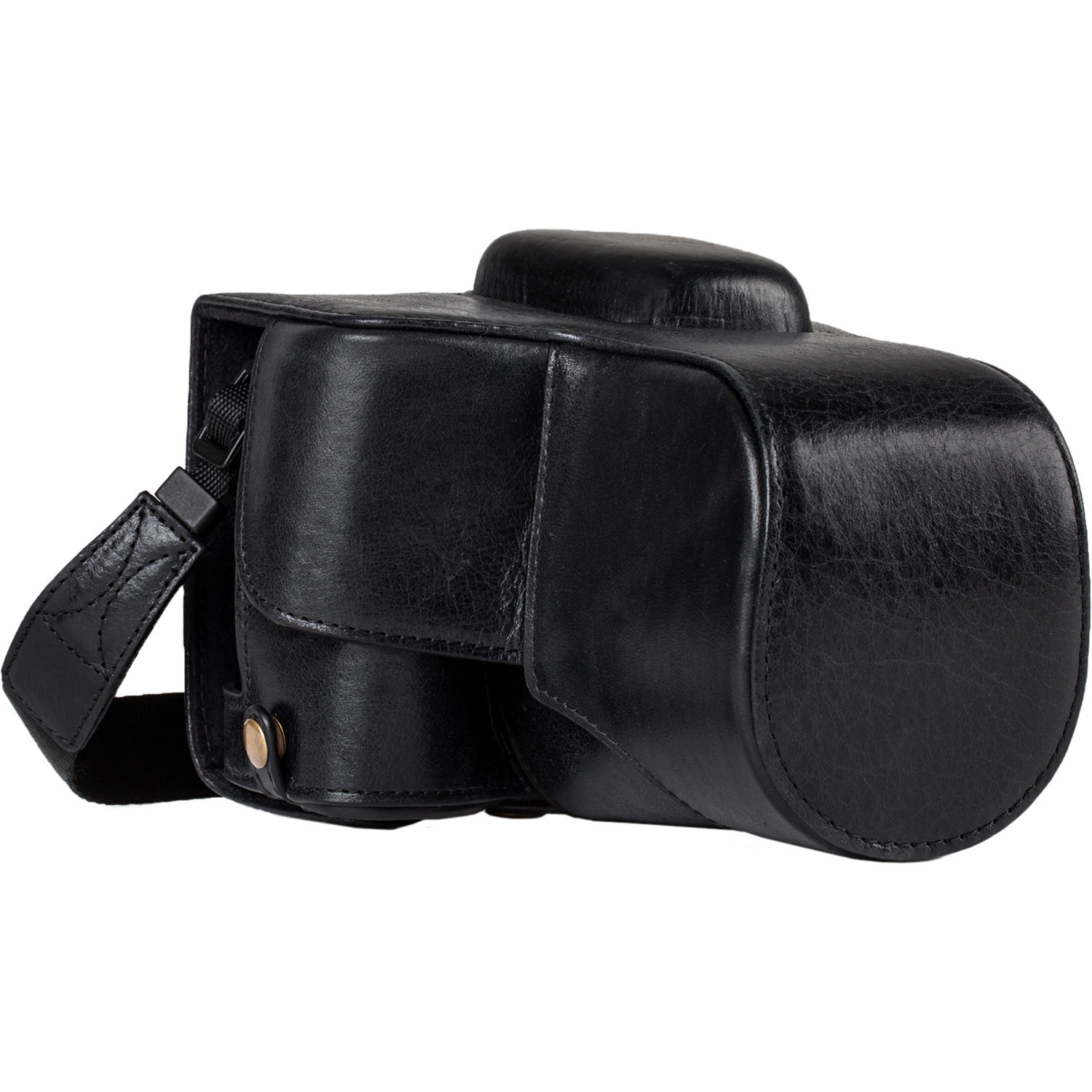 MegaGear Ever Ready Leather Case with Strap for Canon EOS Rebel T7i, 800D,  Kiss X9i, 77D, 9000D and 18-55mm (Black)