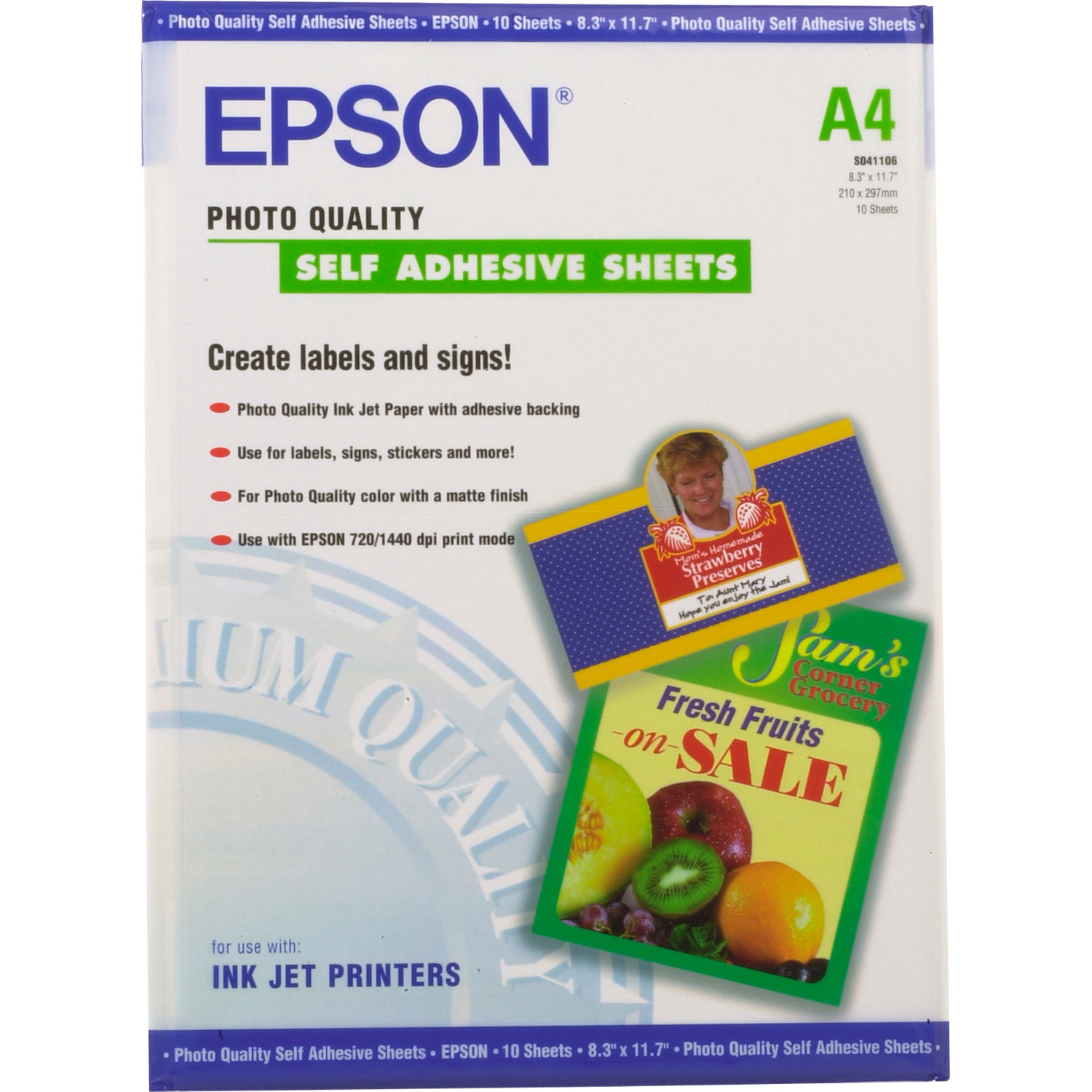 Epson Photo Quality Self Adhesive Sheets A4 8 3 X 11 7 10 Sheets