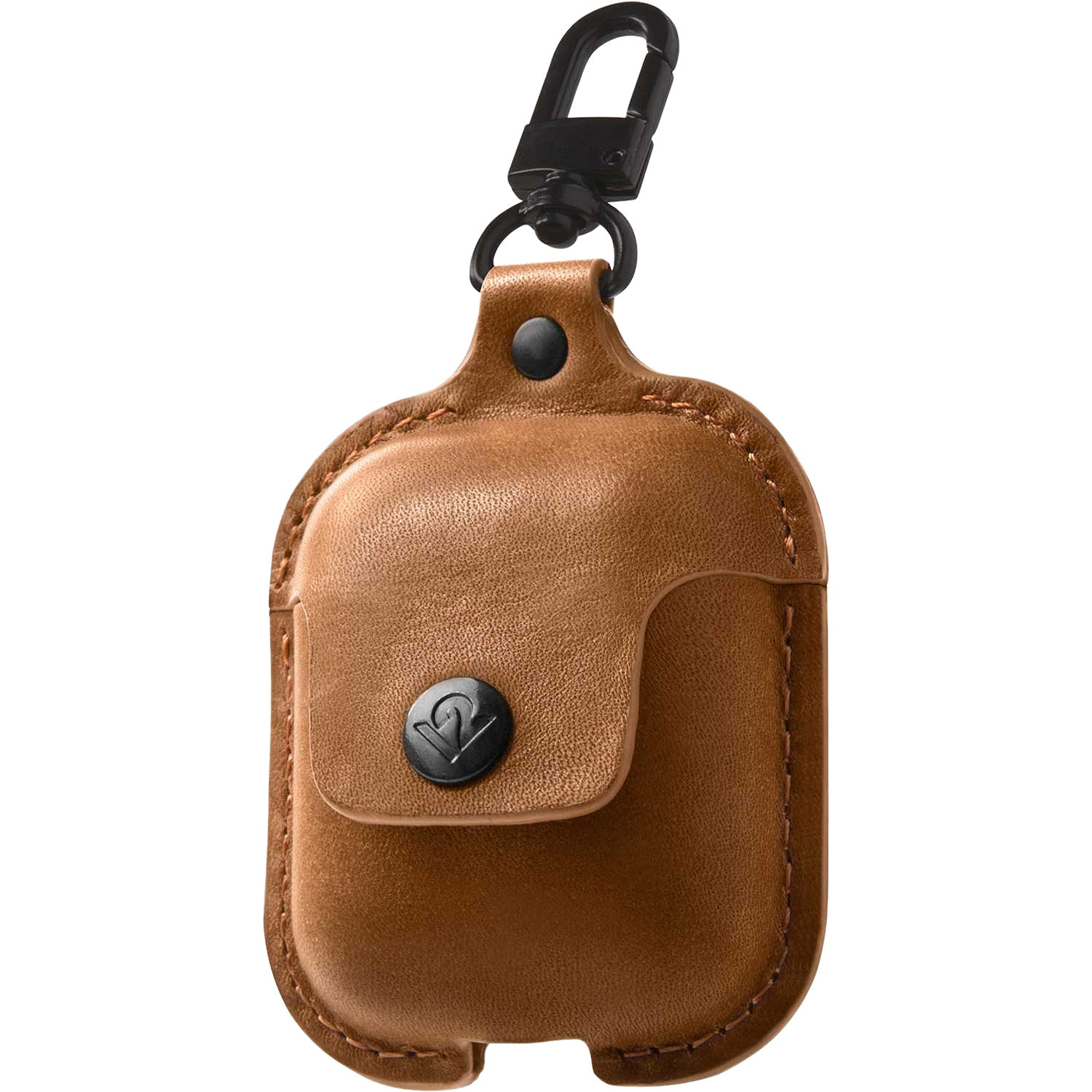 official photos a2795 7a34b Twelve South AirSnap Leather Road Case for AirPods (Cognac)
