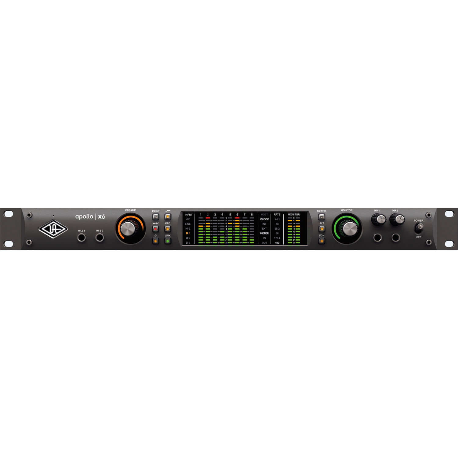 Universal Audio Apollo x6 Rack-Mountable Thunderbolt 3 Audio Interface with  Real-Time UAD Processing