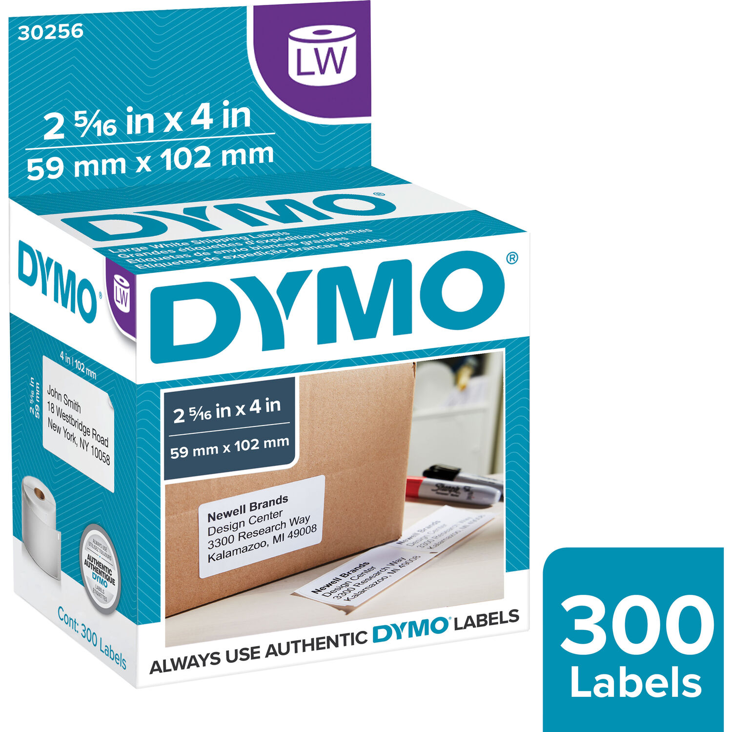 """30256 Dymo Compatible Ship Mailing Address Labels 2-5//16/"""" x 4/"""""""