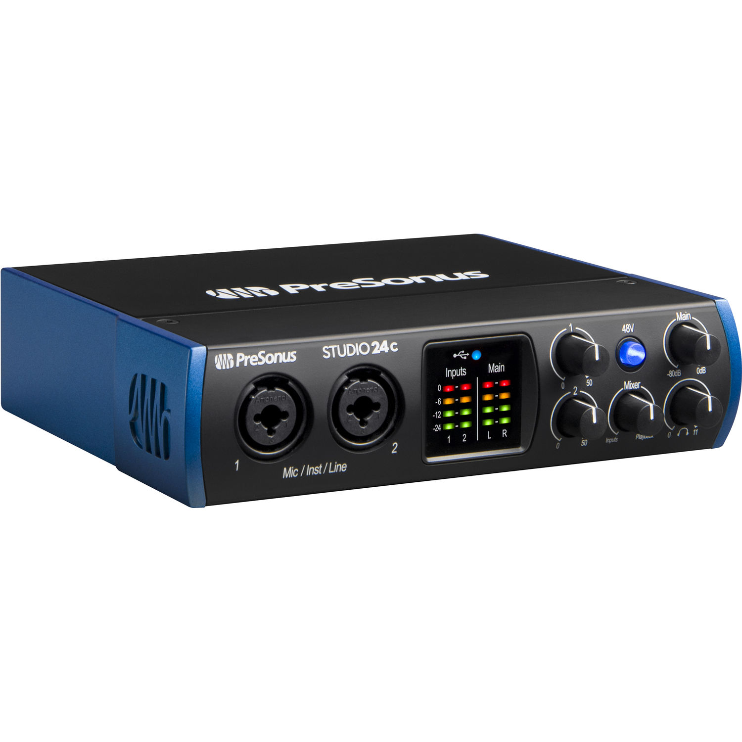 """PreSonus Studio 26c 2x4,192 kHz USB Audio//MIDI Interface with Studio One 5 Artist Software Pack with CR3-X Pair Studio Monitors and 1//4/"""" Instrument Cables"""