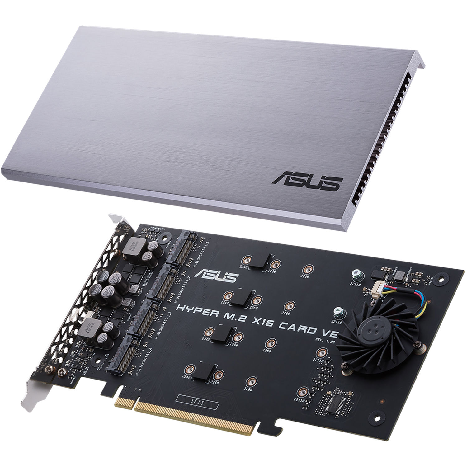 Asus Hyper M.2 X16 Pcie 3.0 X4 Expansion Card V2 Supports 4 Nvme M.2 2242//2260//