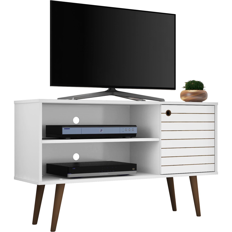 Manhattan Comfort Liberty 42 52 Mid Century Modern Tv Stand White