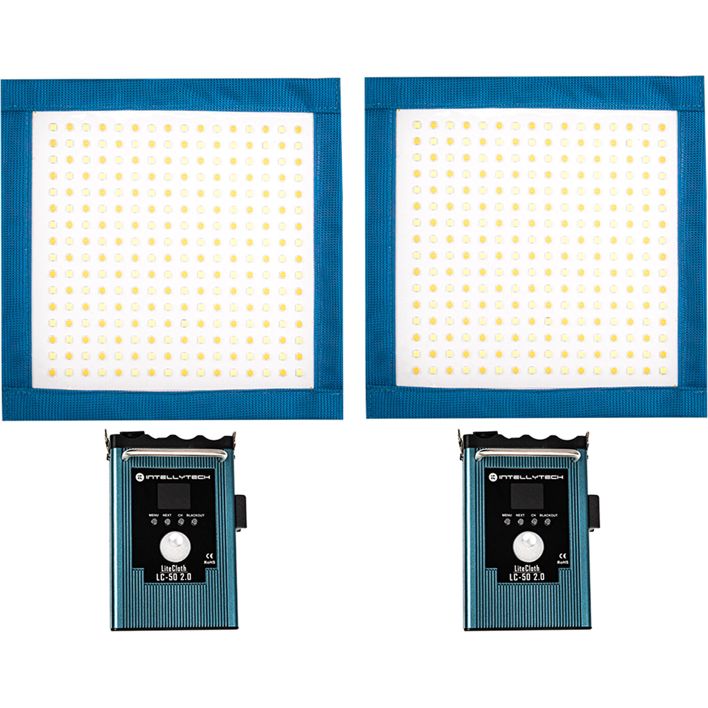Intellytech 2 Light Kit LiteCloth LC-50-1x1 LED Mat Kit V-Mount