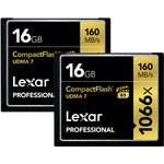 Lexar 16GB Professional 1066x Compact Flash Memory Card (UDMA 7, 2-Pack)