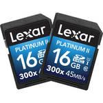 Lexar 16GB Platinum II UHS-I 300x SDHC Memory Card (Class 10, 2-Pack)