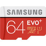 Samsung 64GB EVO Plus UHS-I microSDXC Memory Card with SD Adapter