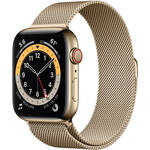 Apple Watch Series 6 (GPS + Cellular, 44mm, Gold Stainless Steel, Gold Milanese Loop Band)