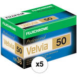 Fujifilm RVP 135-36 Fujichrome Velvia 50 Professional Color Slide Film (ISO-50) (5 Rolls)