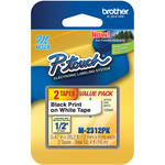 """Brother 0.47"""" Black on White """"M"""" Labeling Tape (26.2', 2 Rolls)"""