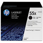 HP 55X High-Capacity Black LaserJet Toner Cartridge Dual Pack