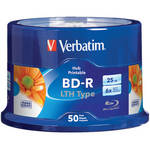 Verbatim 25GB 6x LTH Type Blue-ray Printable Discs (50-Pk)