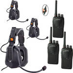 Eartec 3-User SC-1000 Two-Way Radio with Ultra Double Inline PTT Headsets