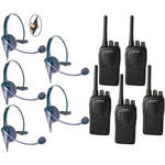 Eartec 5-User SC-1000 Two-Way Radio System with Eclipse Inline PTT Headsets
