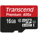 Transcend 16GB microSDHC Memory Card Premium 300x Class 10 UHS-I with microSD Adapter
