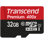 Transcend 32GB microSDHC Memory Card Premium 300x Class 10 UHS-I with microSD Adapter