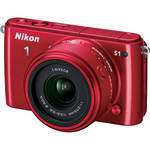Nikon 1 S1 Mirrorless Digital Camera with 11-27.5mm Lens (Red)