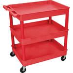 Luxor TC 3-Shelf Utility Tub Cart (Red Finish)