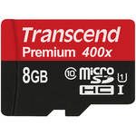 Transcend 8GB microSDHC Memory Card Premium 300x Class 10 UHS-I with microSD Adapter