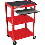 Luxor AVJ42KB Steel Adjustable A/V Cart with Pullout Keyboard Tray (Red)