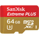 SanDisk 64GB microSDXC Extreme Plus Class 10 UHS-1 Memory Card with microSD Adapter