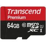 Transcend 64GB microSDXC Memory Card Premium 300x Class 10 UHS-I with microSD Adapter