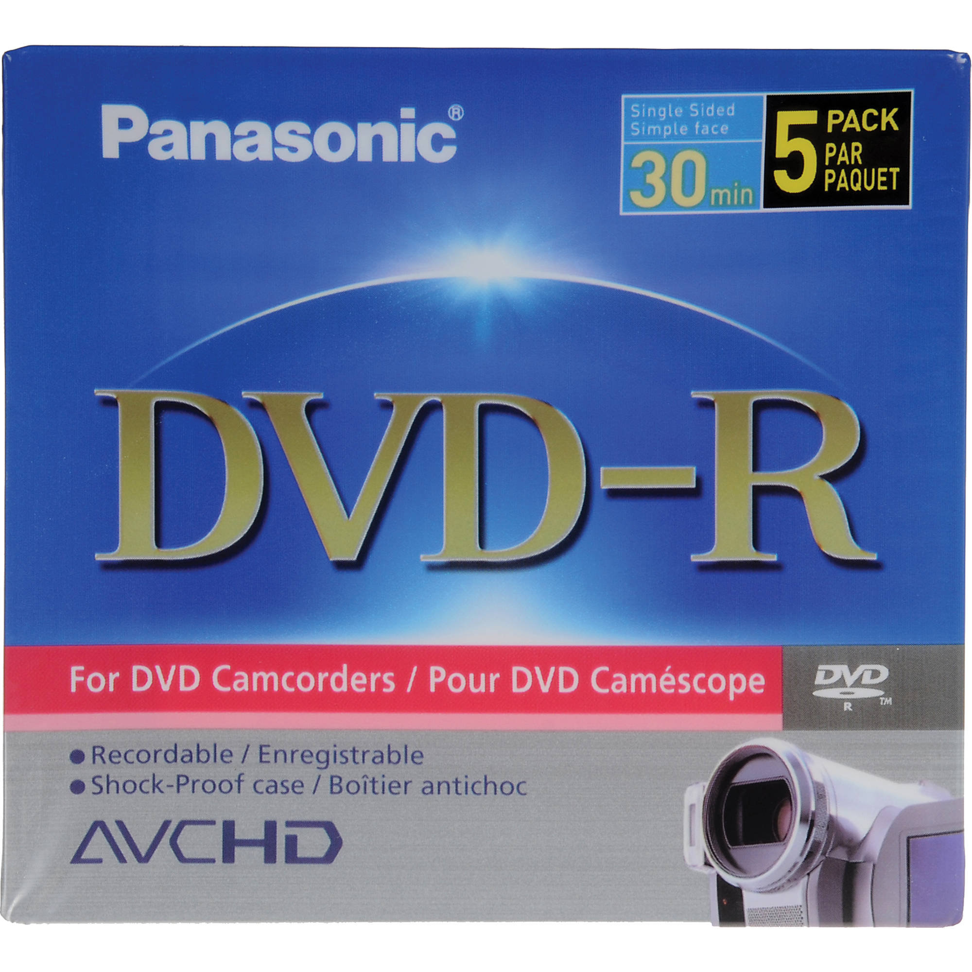 Panasonic 5-Pack Single-Sided 1 4GB 8cm DVD-R for DVD Camcorders