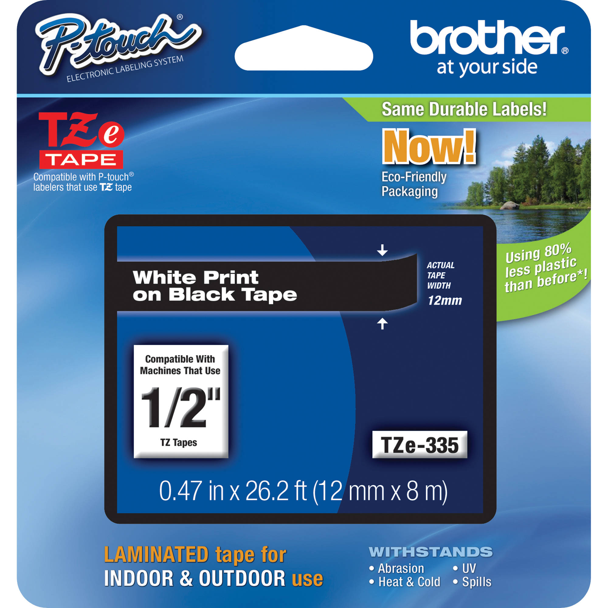 """10PK TZ TZe 335 White on Black Label Tape For Brother P-Touch PT-300 1//2/"""" 12mm"""