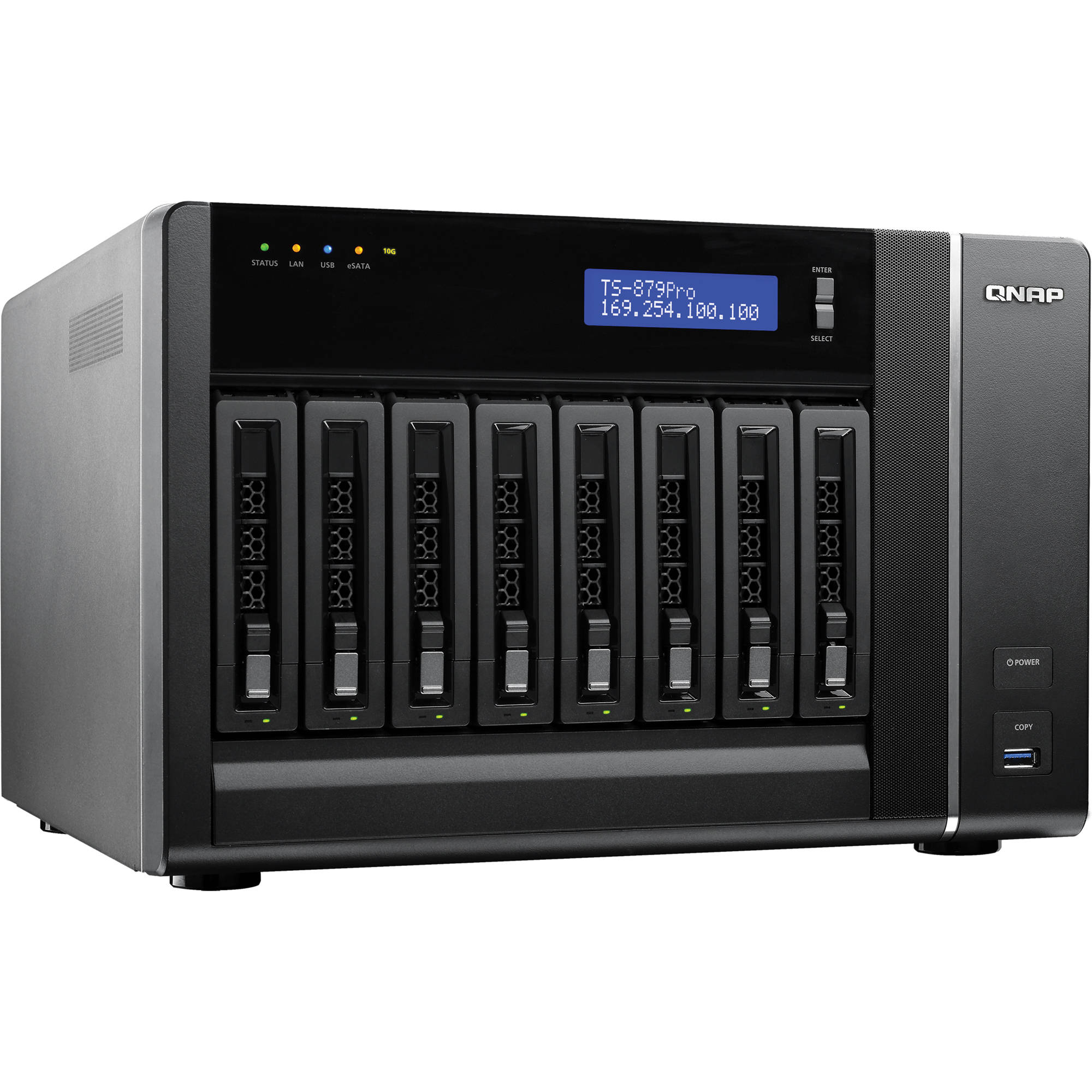 QNAP TS-879 Pro 8 Bay Turbo NAS Server with 10GbE Network Ready Bundle