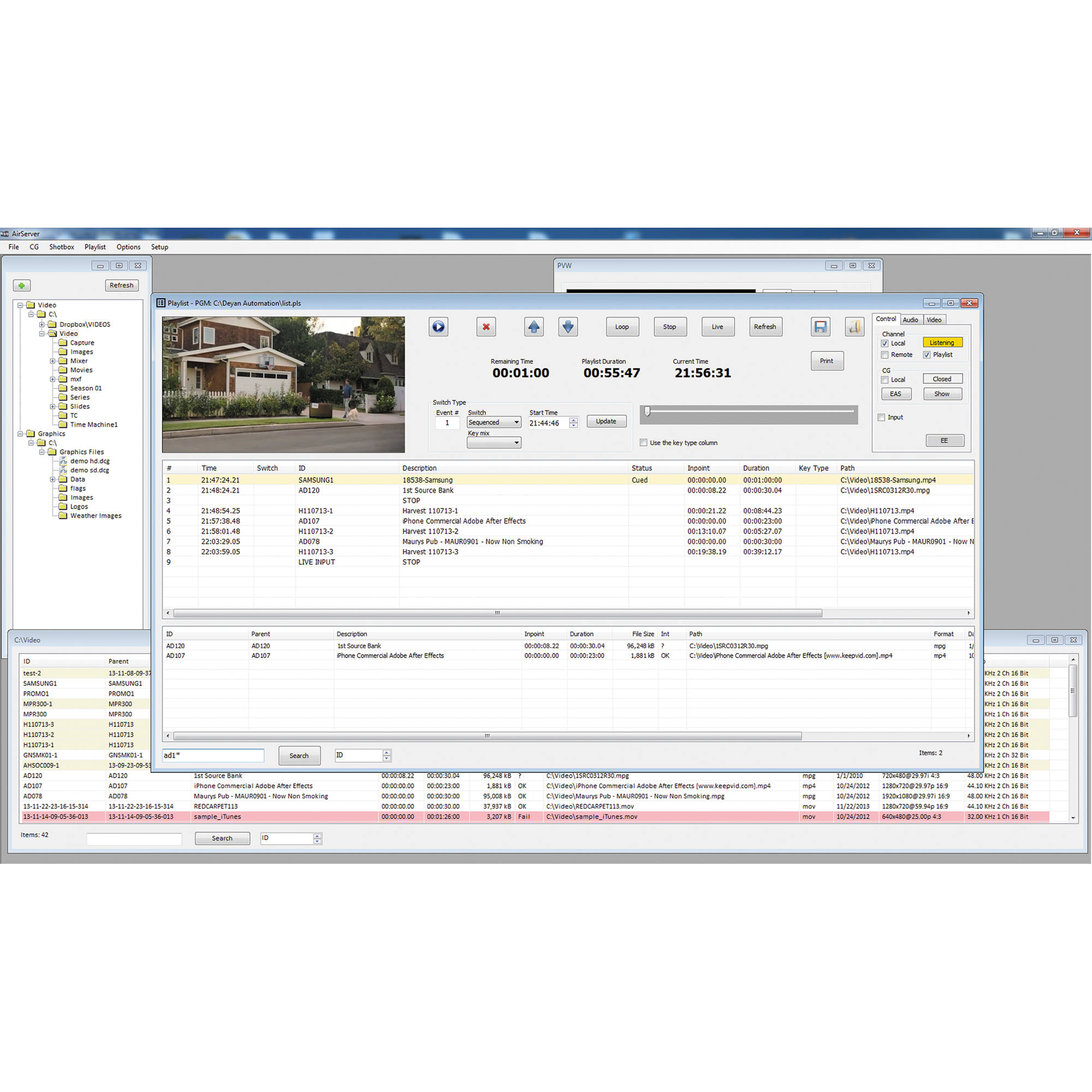 Deyan Automation Systems AirServer Lite - Single Channel SD/HD Playout  (Download, Dongle)