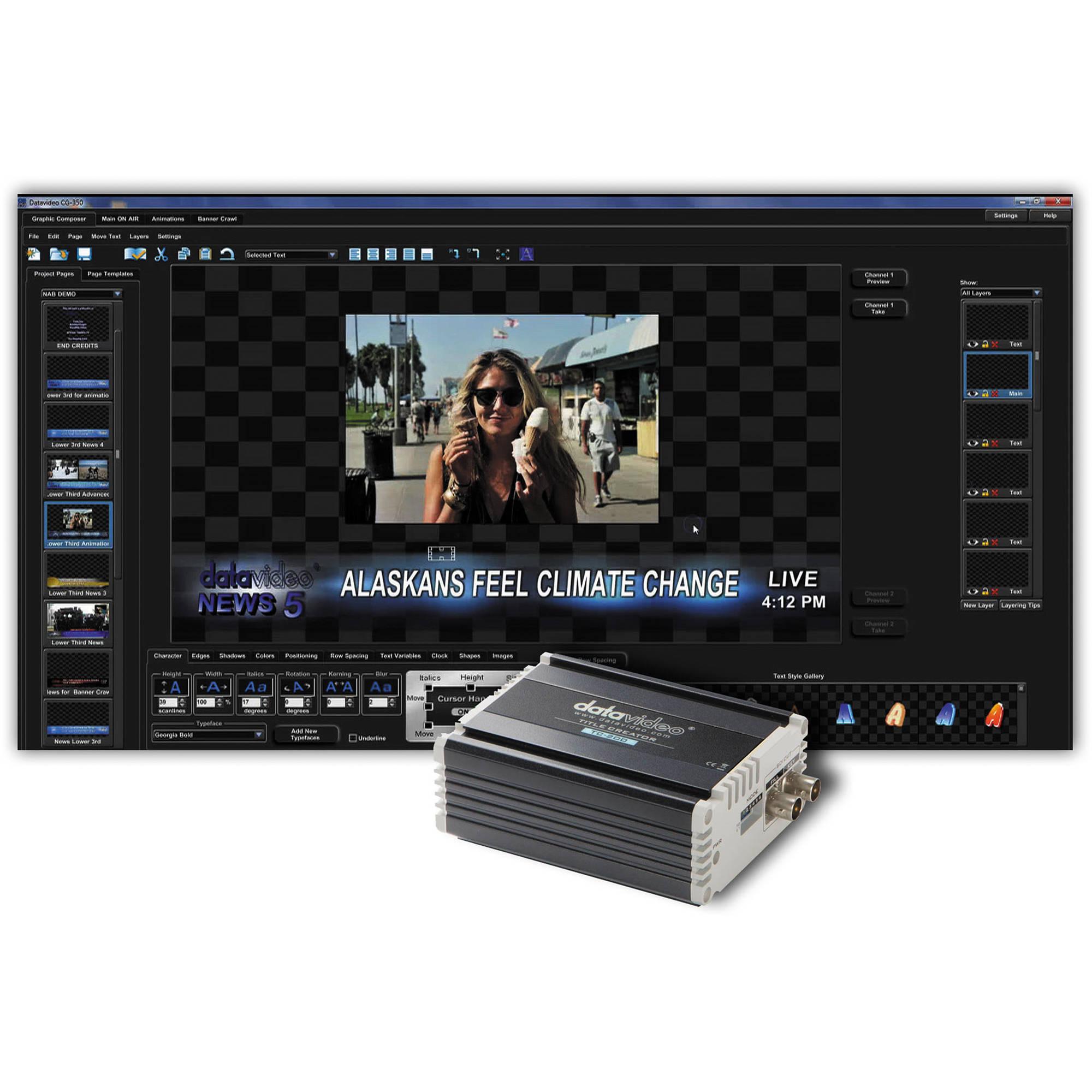 Datavideo CG-350TC Kit with CG-350 HD/SD Character Generator and TC-200  HD/SD Character Generator Kit
