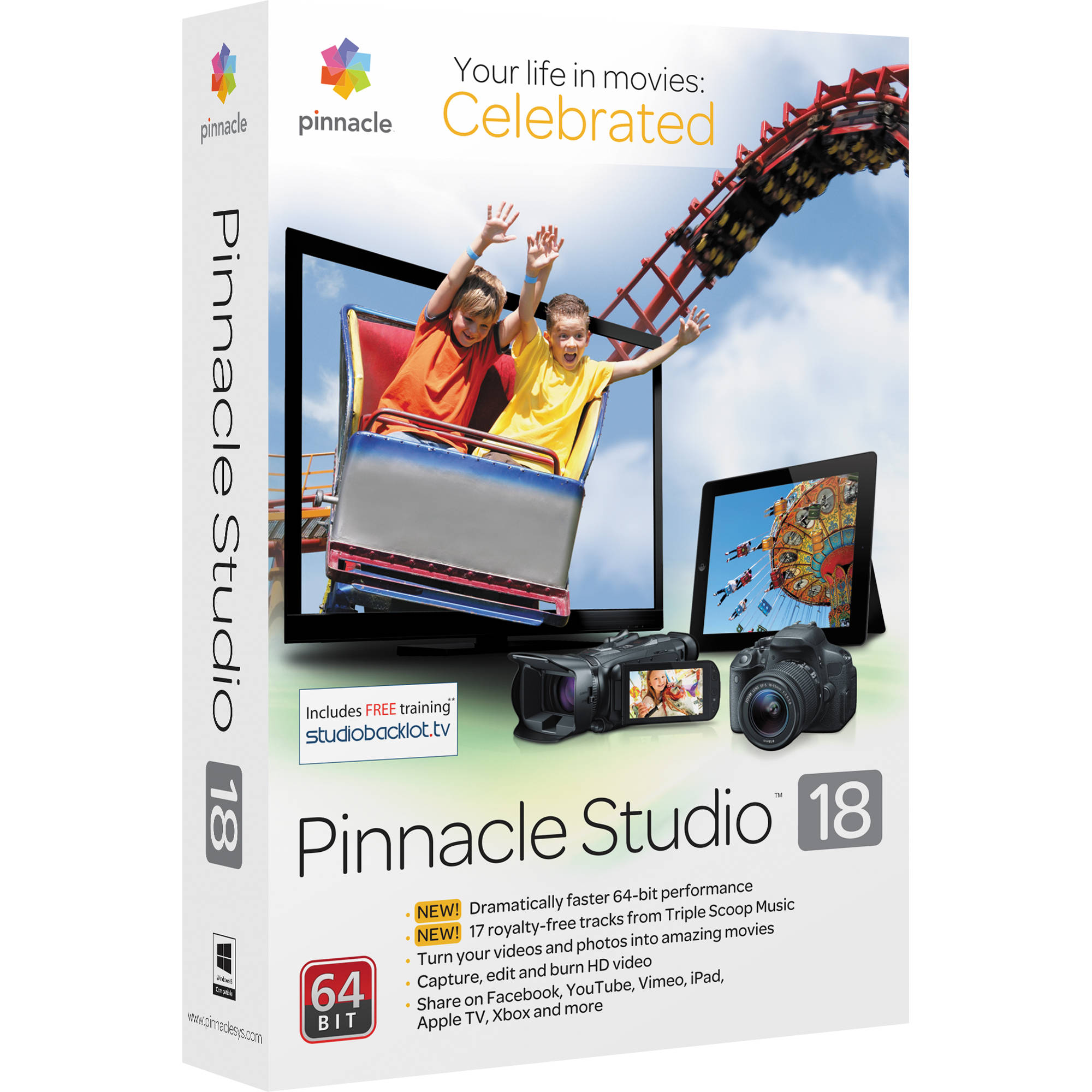 Pinnacle Studio 18 Standard Video Editing Software for Windows (Boxed)